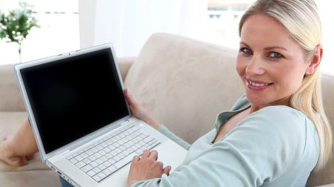 laptop and woman
